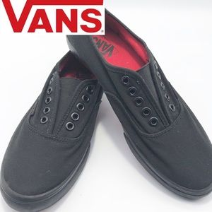 Vans Laceless Black Sneakers Red bottoms W8.5 M7